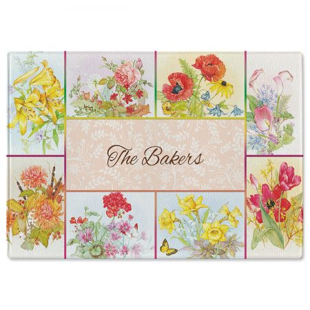 Beautiful Flowers Tempered Glass Cutting Board