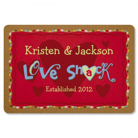 Love Shack Wedding Personalized Welcome Doormat