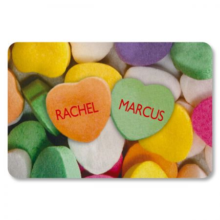 Candy Hearts Personalized Doormat