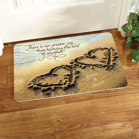 Two Hearts Personalized Welcome Doormat