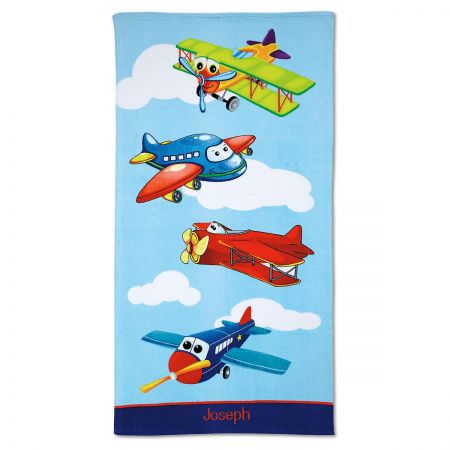 Airplane Personalized Beach Towel