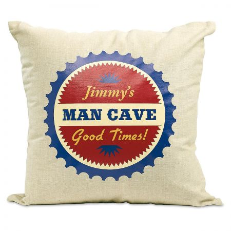 Man Cave Burlap Decorative Pillow