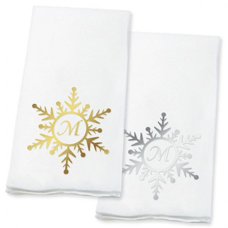 Snowflake Initial Guest Hand Towels