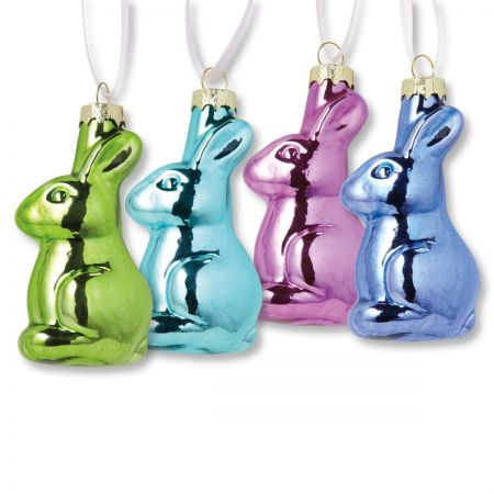 Glass Bunnies Easter Ornaments Set