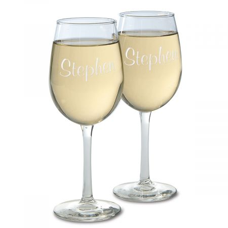 Wine Glass with Name This elegant wine glass is perfect for entertaining or a quiet evening in. Dishwasher safe. 10 1/2 oz. Specify name up to 10 characters.