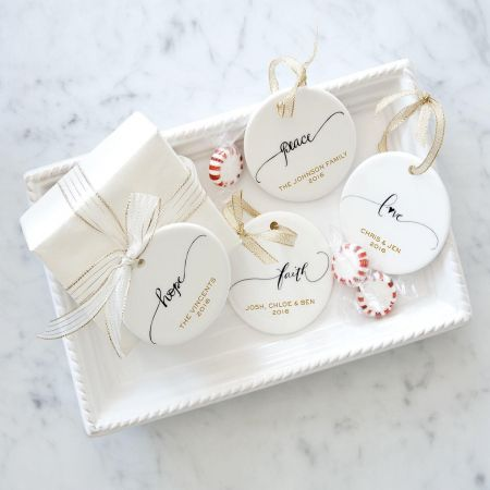 Personalized Peace Round Christmas Ornaments