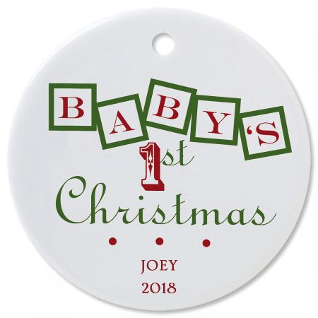 Personalized Baby's 1st Round Christmas Ornament