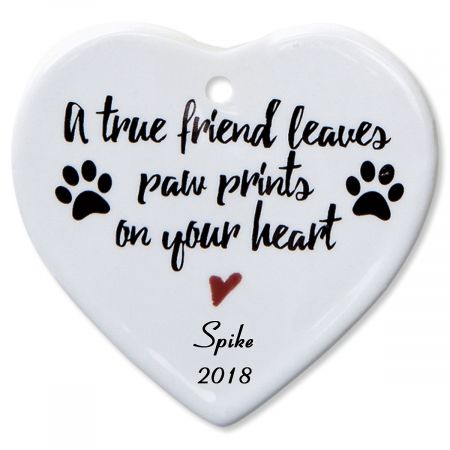Personalized A True Friend Heart Pet Memorial Christmas Ornament