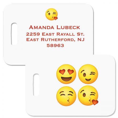 Emoji Personalized Luggage Tag Whimsical 2 3/4 x 4  tag makes it easy to claim your stuff. Comes with 6  clear plastic tag loop. Specify line 1 up to 16 characters and lines 2-5 up to 20 characters each.