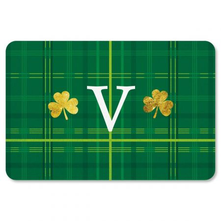Shamrock Plaid Personalized St Patrick's Day Doormat
