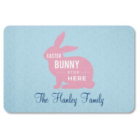 Easter Bunny Stop Here Personalized Doormat