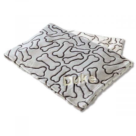 Personalized Embossed Bone Dog Throw