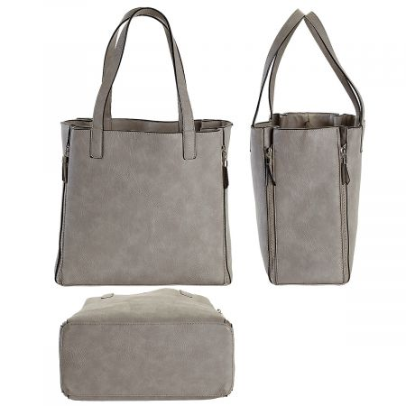 Gray Carry-All Nora Tote Bag with Matching Personalized Crossbody Purse