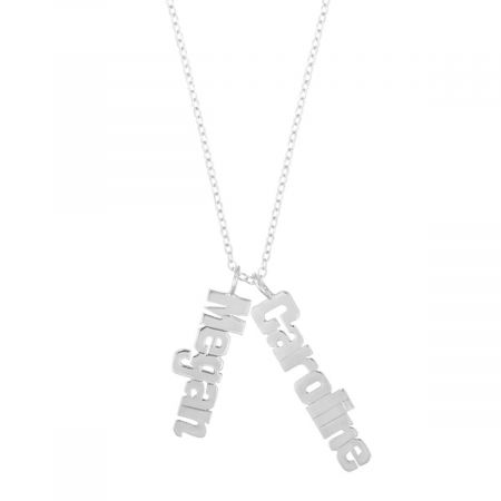 Personalized Silver Vertical Name Plate - 2 Names