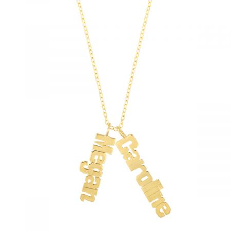 Personalized Gold Vermeil Vertical Name Plate Necklace