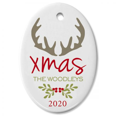 Personalized Antlers Oval Christmas Ornament