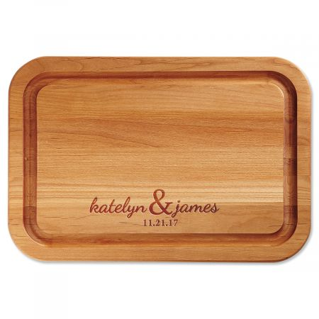Personalized Couples Wood Cutting Board