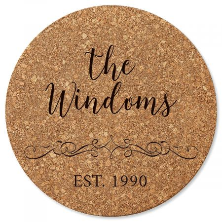 Vine Design Round Cork Personalized Trivet