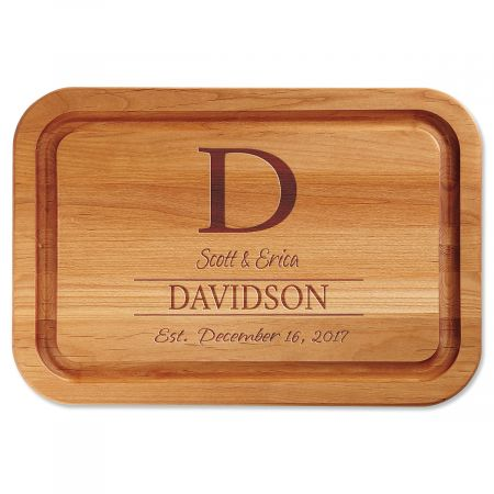 Initial with Name Engraved Wood Cutting Board