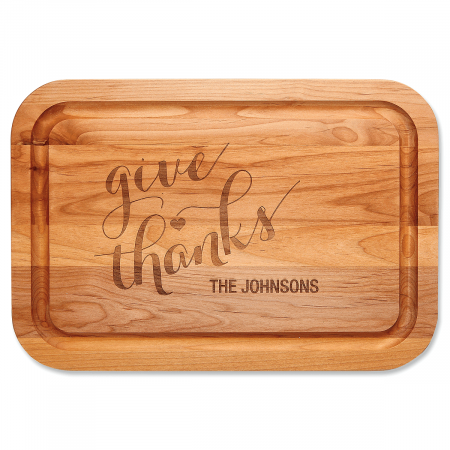 Give Thanks Engraved Wood Cutting Board