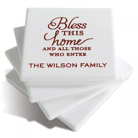 Bless This Home Custom Ceramic Coasters