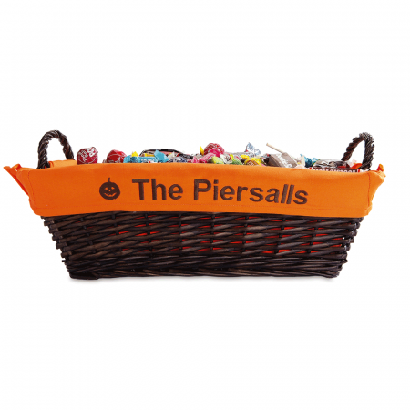 Natural Basket with Personalized Halloween Liner