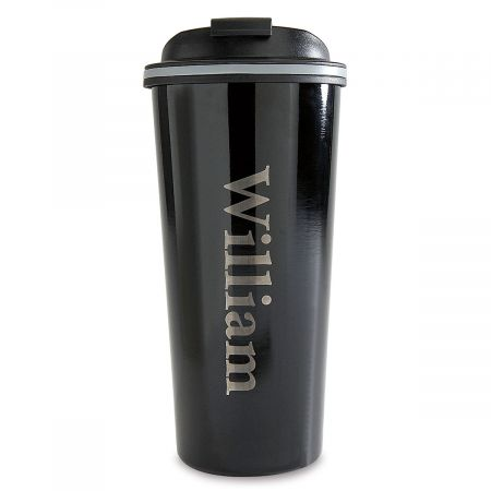 Wall Mug Stainless Steel Travel Personalized Double Black 3AR45jqL