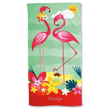 Flamingo Personalized Beach Towel