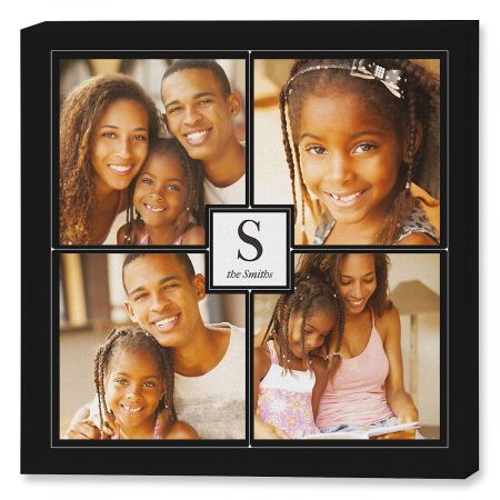 Monogram Black Collage Photo Canvas