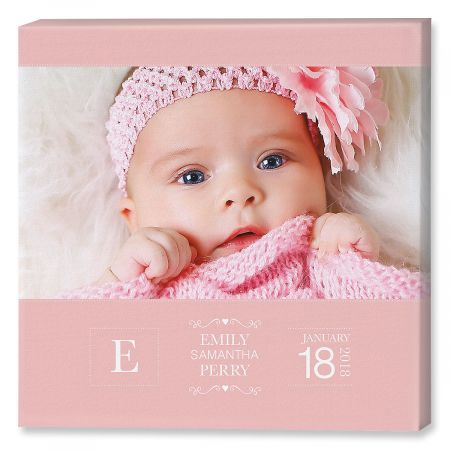 Baby Picture Pink Photo Canvas - 12x12