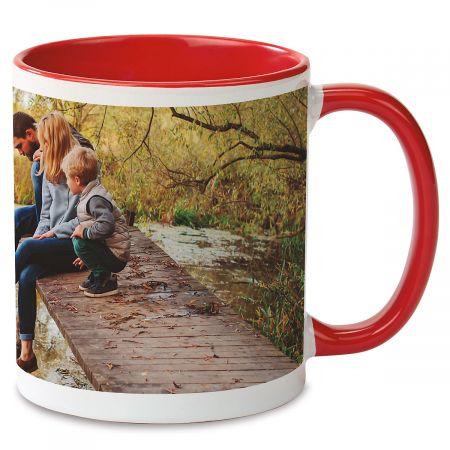 Panoramic Ceramic Photo Mug - Red Handle