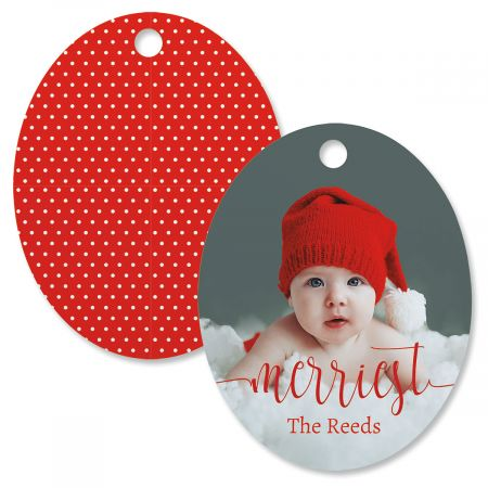 Merriest Personalized Photo Ornament – Oval