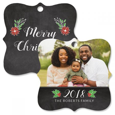 Festive Chalk Personalized Photo Metal Ornament