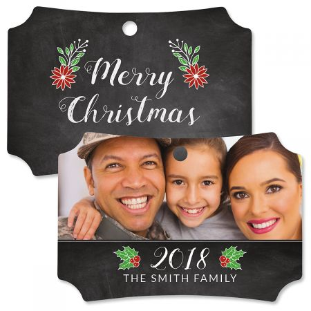 Merry Chalk Photo Ornament - Deluxe