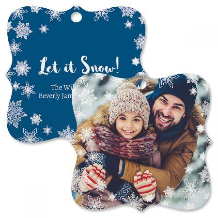 Let It Snow Personalized Photo Ornament – Square Bracket