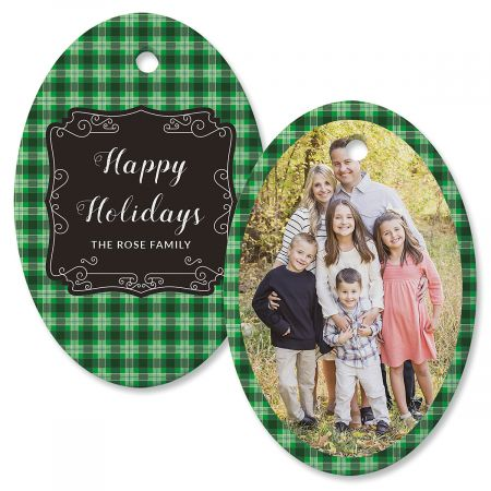 Green Plaid Photo Ornament – Oval