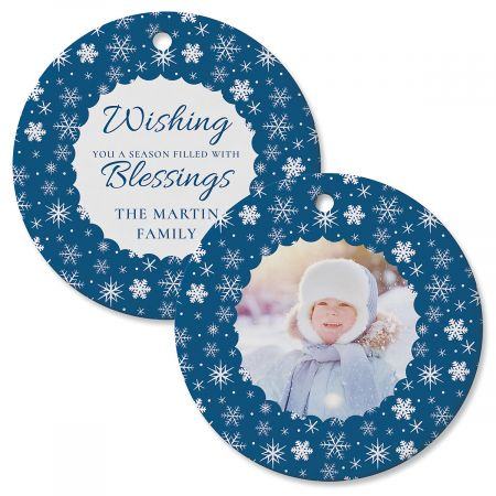 Scallop Snow Personalized Photo Ornament – Circle