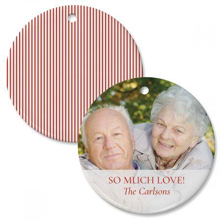 Red Stripe Personalized Photo Ornament