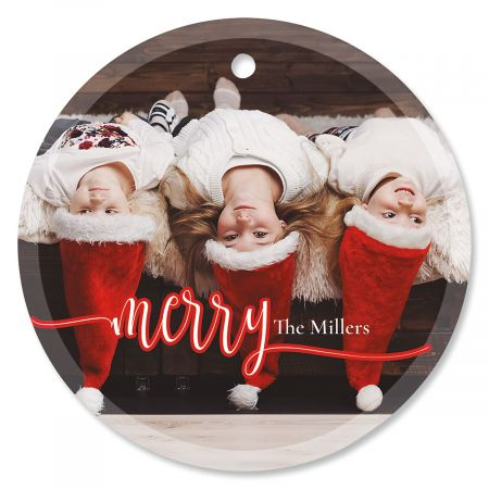 Merry Personalized Photo Ornament – Glass Round