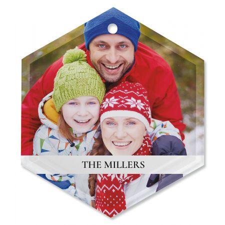 Family Name Personalized Photo Ornament - Glass Hexagon