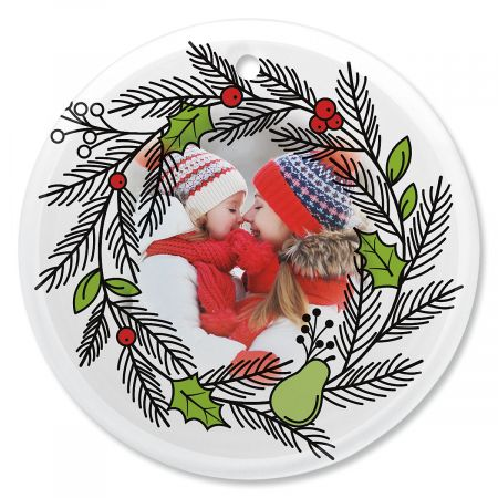 Wreath Personalized Photo Ornament - Glass Round