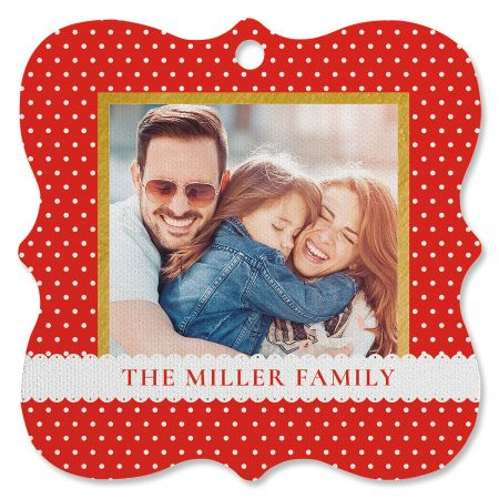 Polka Dot Photo Ornament - Square Bracket