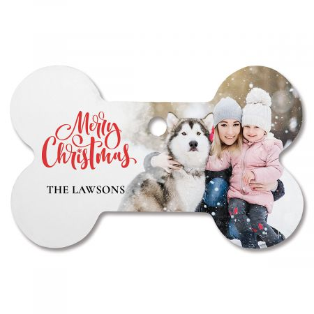 Merry Christmas Personalized Photo Ornament - Bone