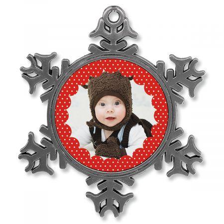 Polka Dot Photo Ornament - Metal Snowflake