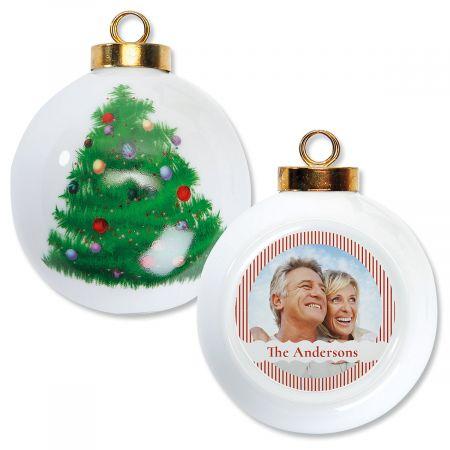Stripe Personalized Photo Ornament - Round Tree