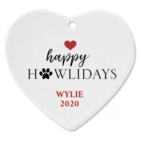 Happy Howlidays Ceramic Personalized Christmas Ornament