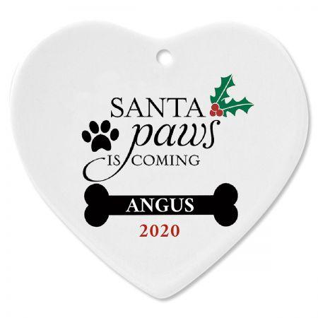 Santa Paws Ceramic Personalized Christmas Ornament