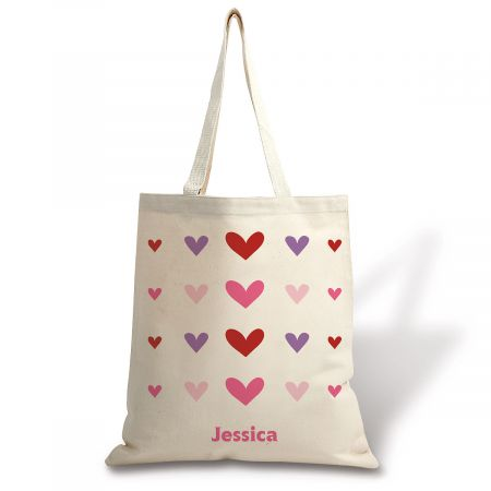 Personalized Hearts Natural Canvas Tote