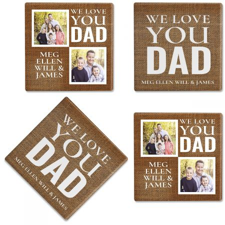 Burlap Personalized Photo Coasters