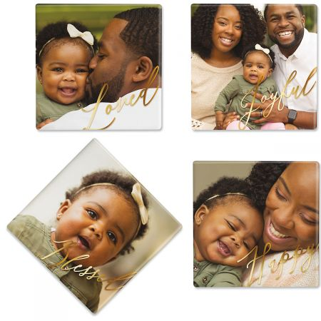 Calligraphy Personalized Photo Coasters